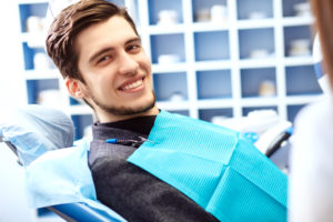 happy man at dentist